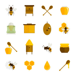 Bee honey icons flat set with food beekeeping agriculture elements isolated vector illustration